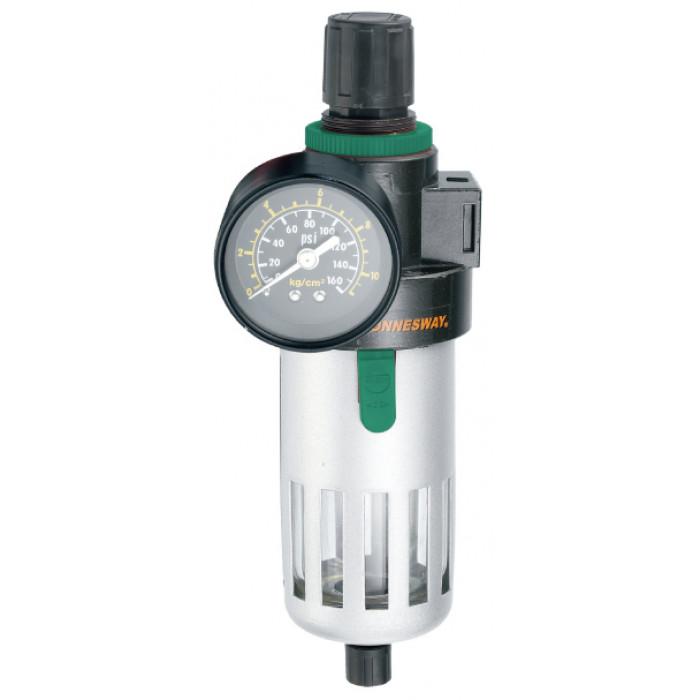 """JAZ-0532 Фильтр (влагоотделитель) с регулятором давления для пневматики 1/4"""", 1000 л/мин, калибр фильтра 5 микрон"""