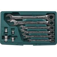 Набор ключей комбинированных трещоточных 10, 12, 13, 17, 19 мм. Адаптеры 1/4''DR, 3/8''DR, 1/2''DR, адапер для бит 1/4''DR., W45110S